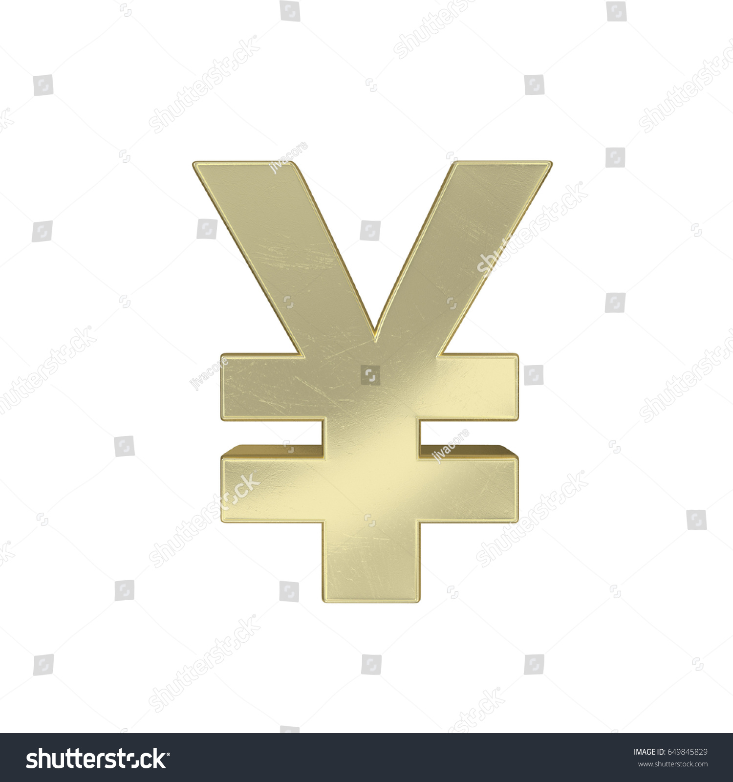 3 D Rendering Gold Symbol Rmb Isolated Stock Illustration 649845829