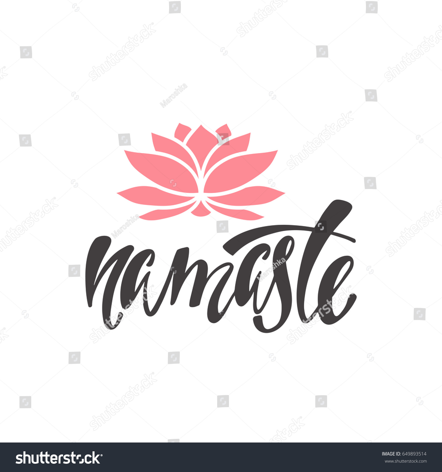 Namaste inspirational quote about happiness modern stock vector inspirational quote about happiness modern calligraphy phrase with silhouette lotus flower simple izmirmasajfo
