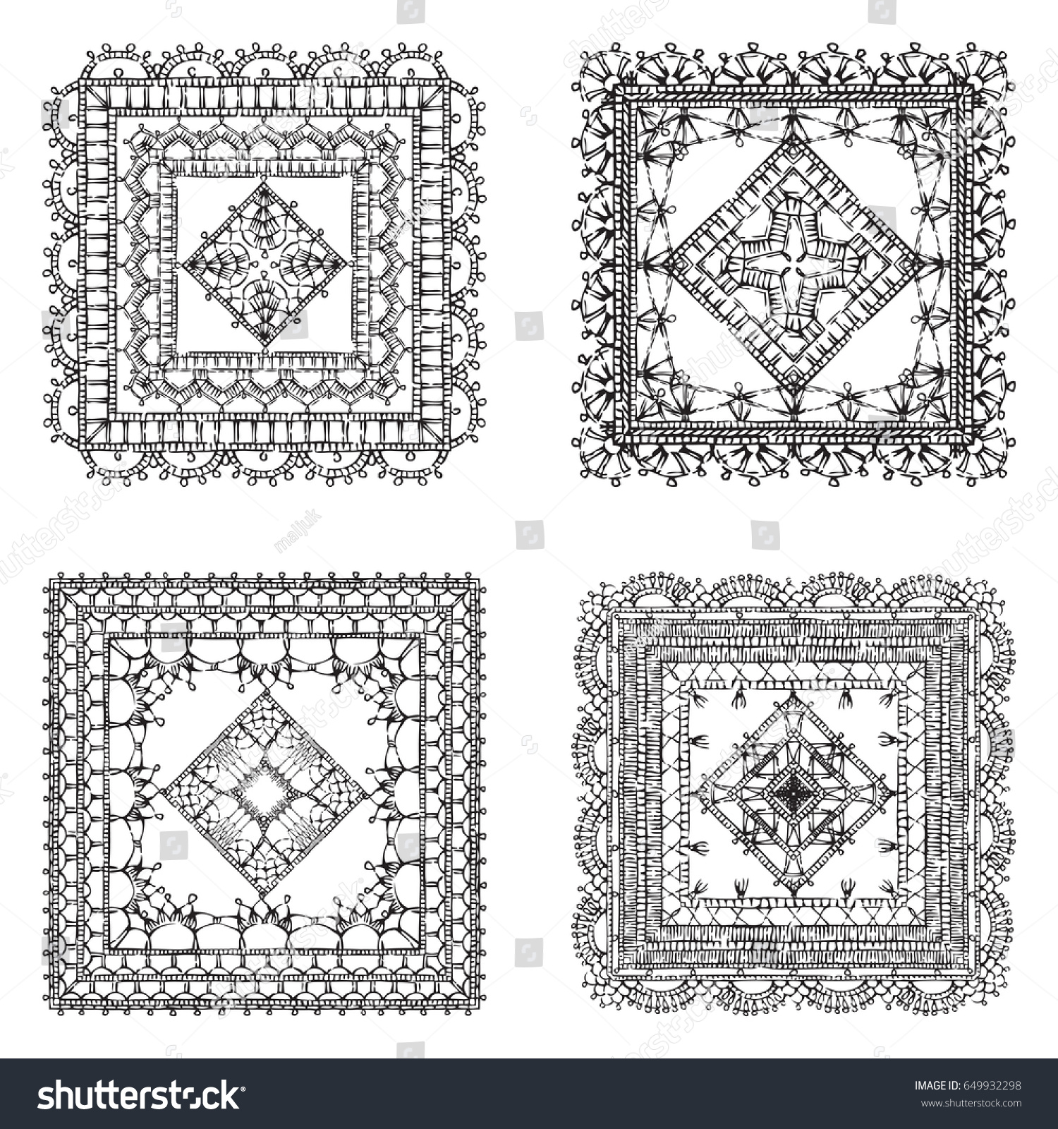 Vector Set Lace Crochet Square Ornaments Stock Vector HD (Royalty ...