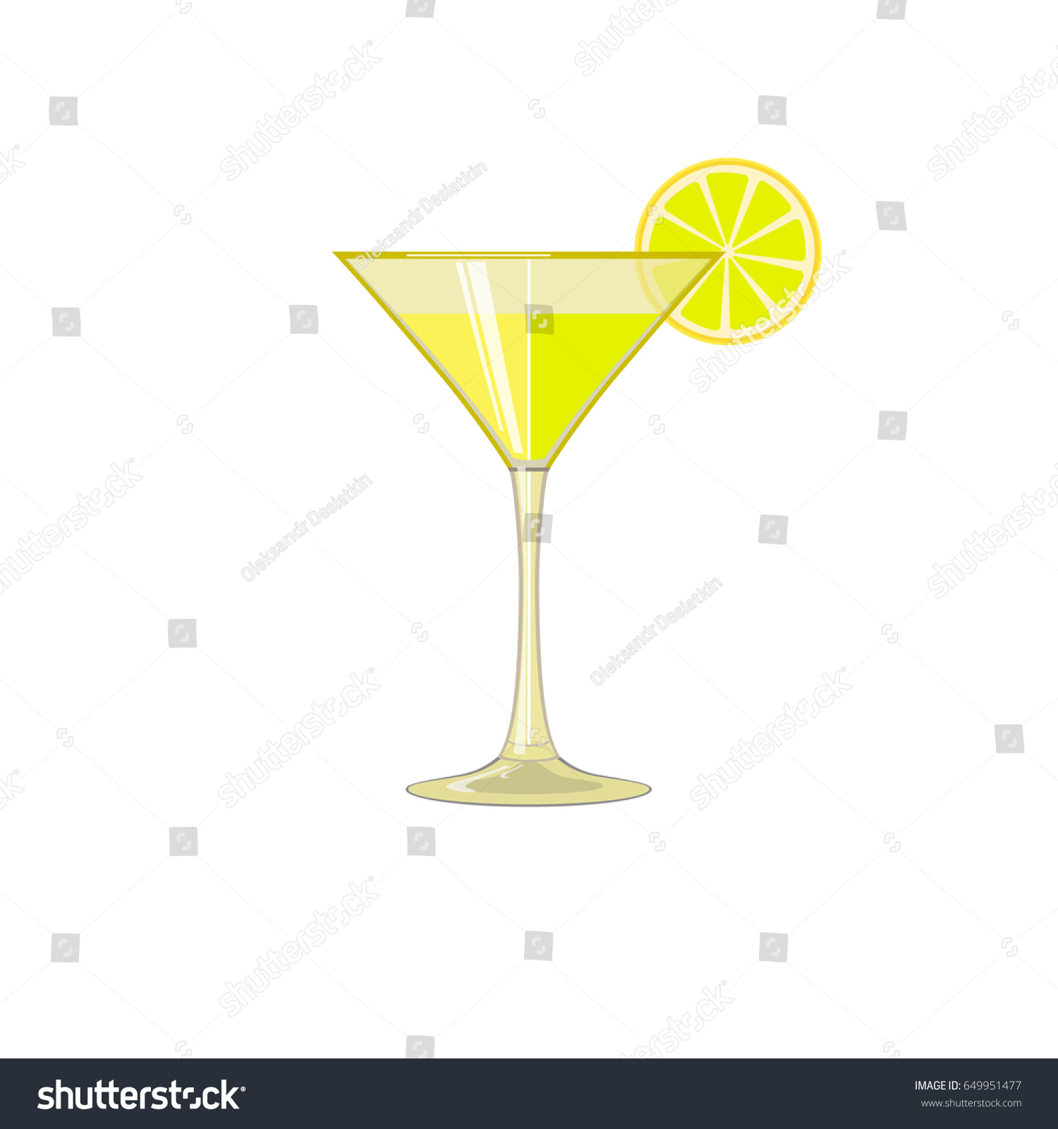 glass iced drink wine cocktail lemon stock vector 649951477