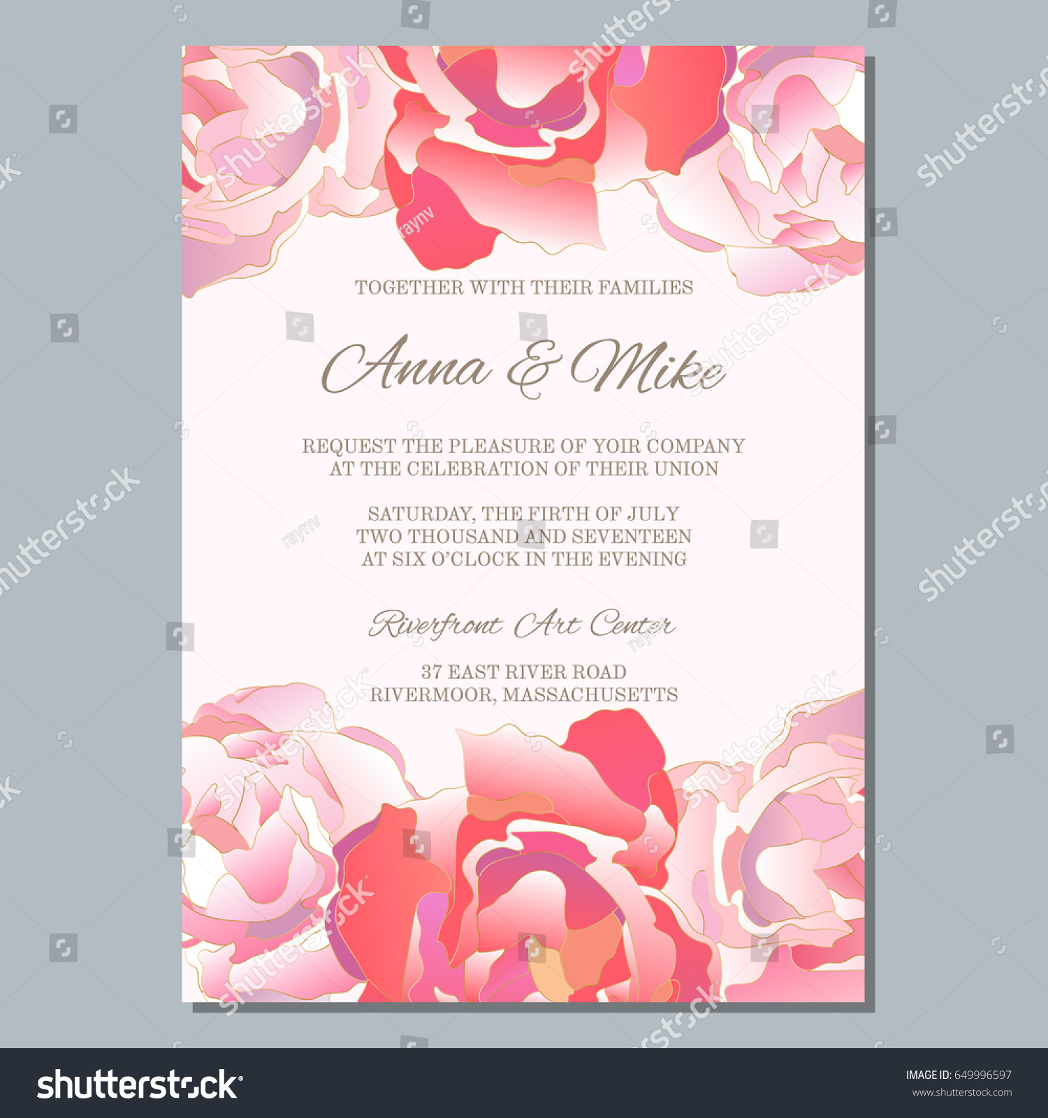 Wedding Invitation Template Roses Thank You Stock Vector 649996597 ...