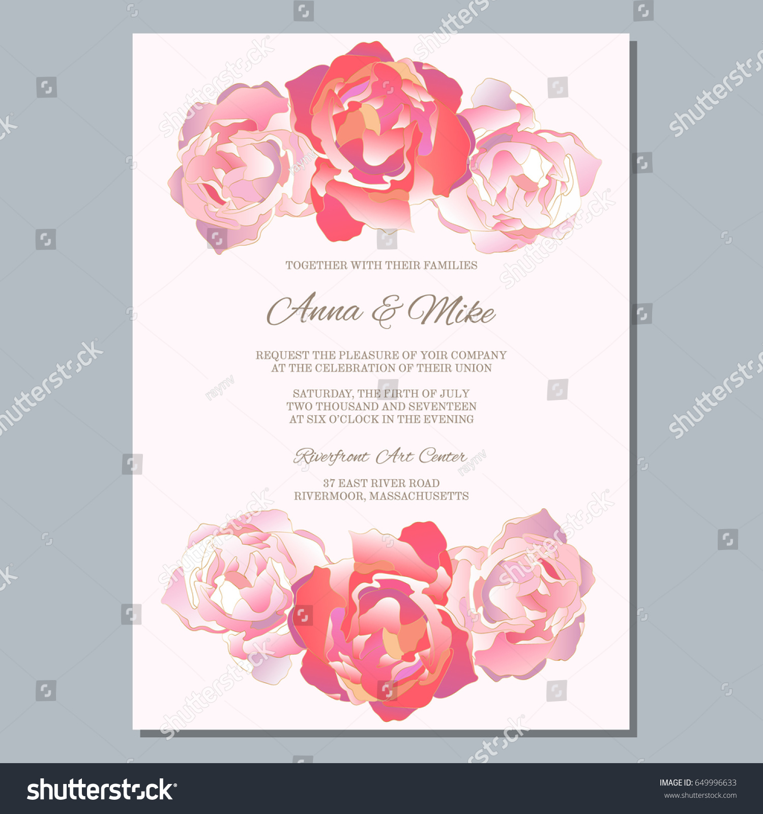 Wedding Invitation Template Roses Thank You Stock Vector 649996633 ...