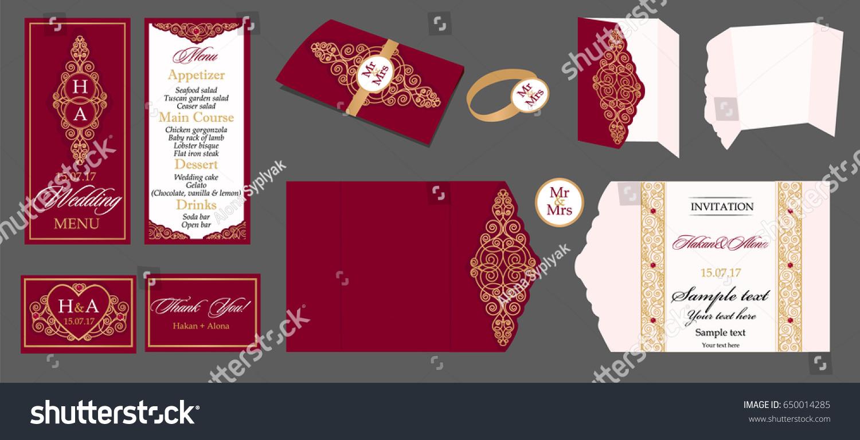 Wedding Card Collection Menu Invitation Table Stock Vector (2018 ...