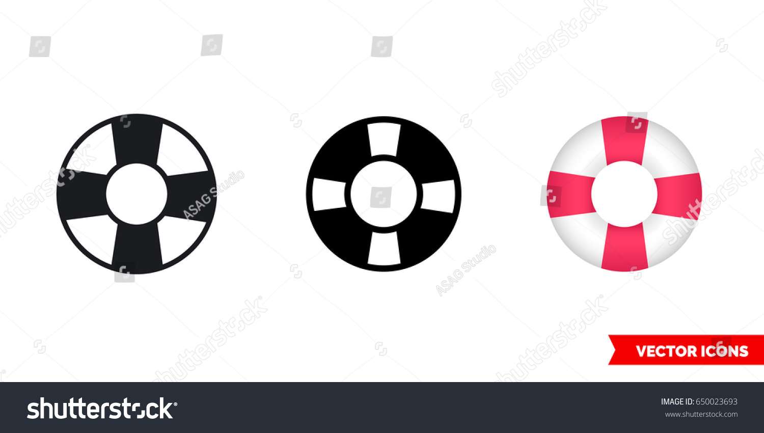 Lifebuoy Icon 3 Types Color Black Stock Vector 650023693 Shutterstock