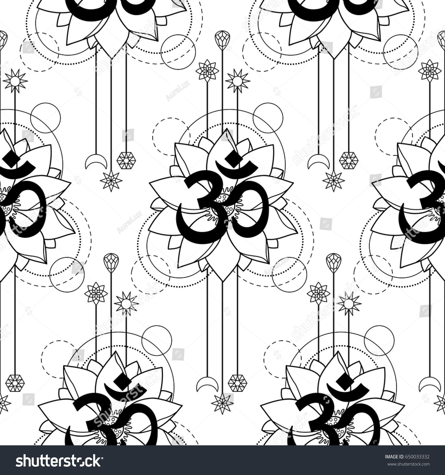 c6b86b696 Seamless pattern with mantra Om and lotus abstract composition on white  background. Modern tattoo,