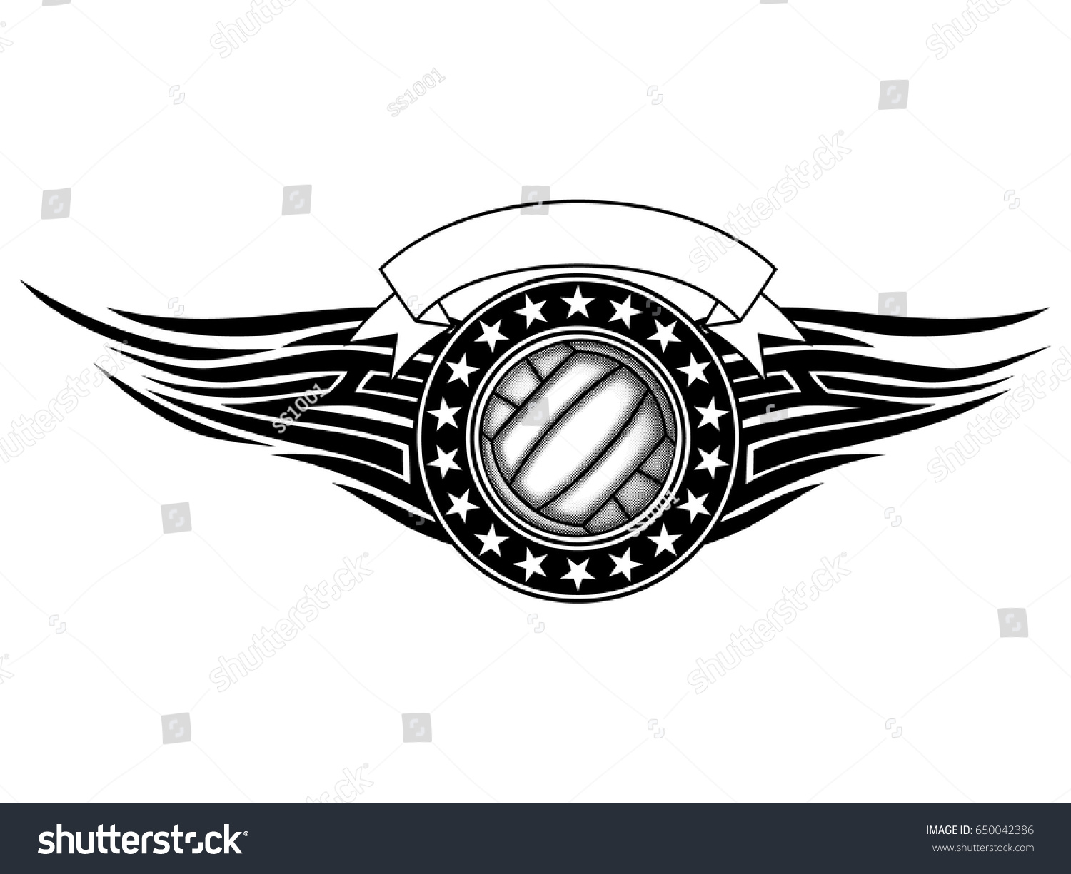 abstract vector illustration black white volleyball stock vector