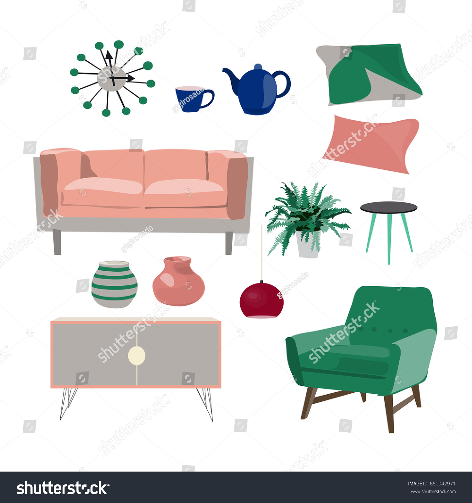 trendy home furniture. Vector Living Room Furniture Mood Board. Interior Design. Modern, Trendy Colors. Home