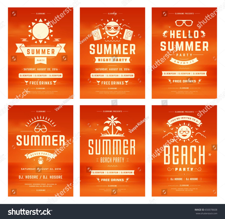 retro summer party design posters flyers のベクター画像素材