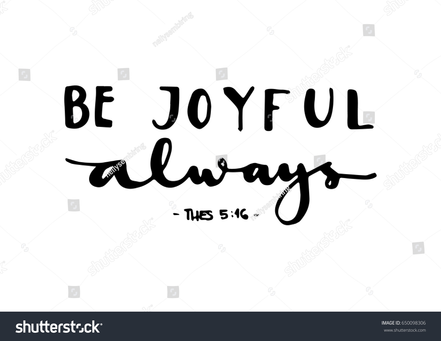 Be joyful bible verse hand lettered stock vector