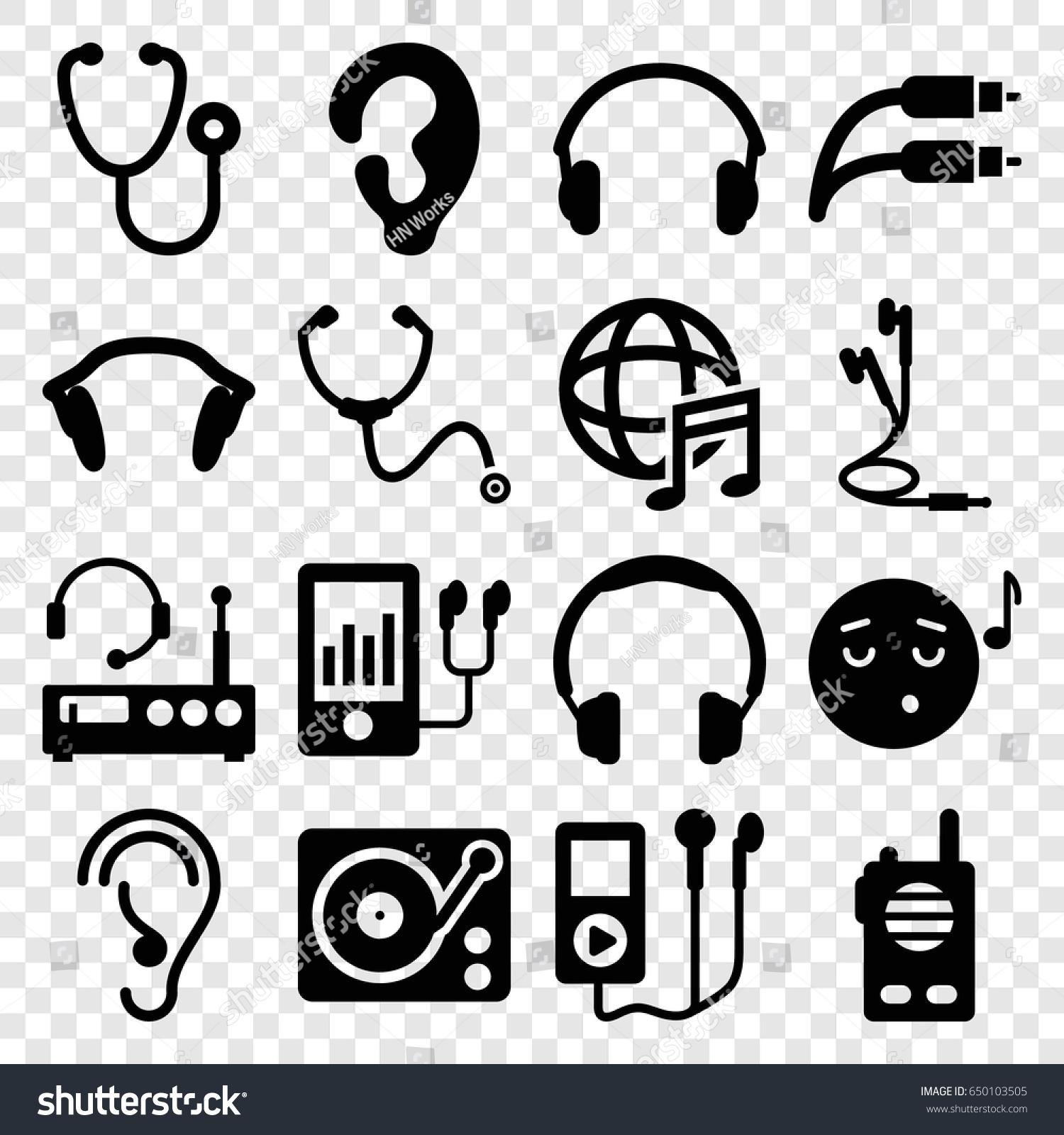 Listen Icons Set Set 16 Listen Stock Vector 2018 650103505