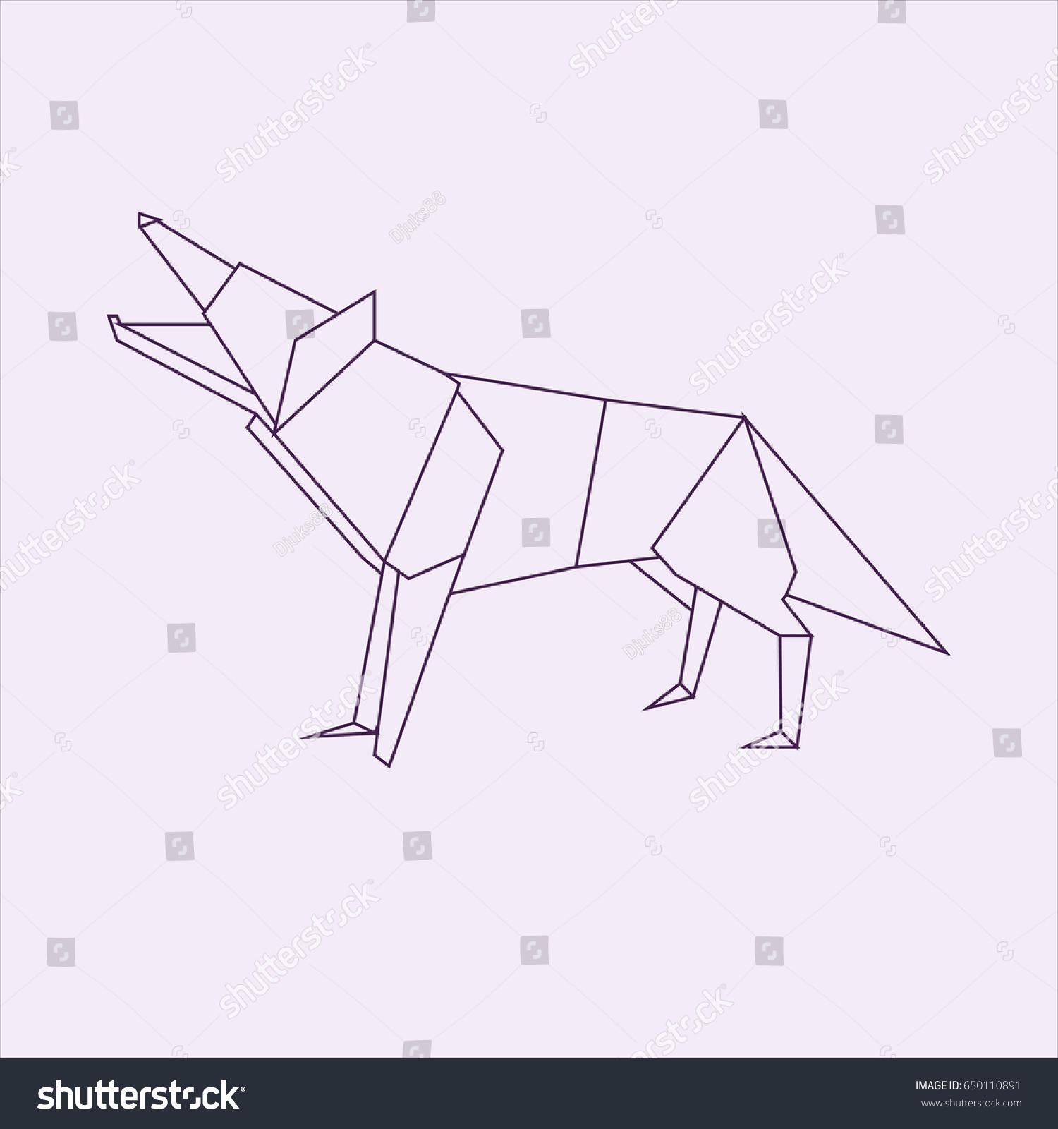Wolf Origami Stock Illustration 650110891 Shutterstock
