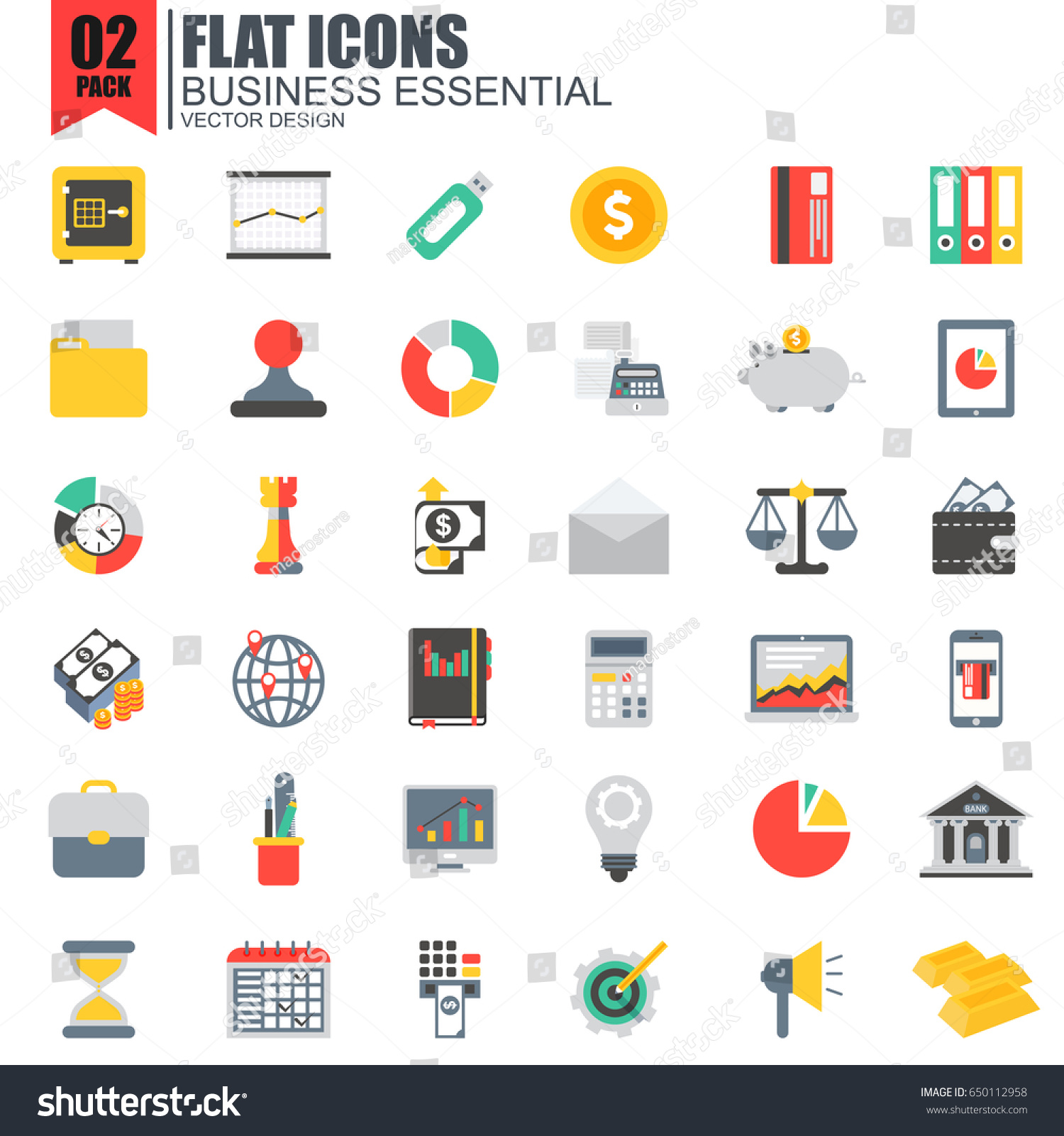 Simple Set Business Essential Flat Icons Stock Vector