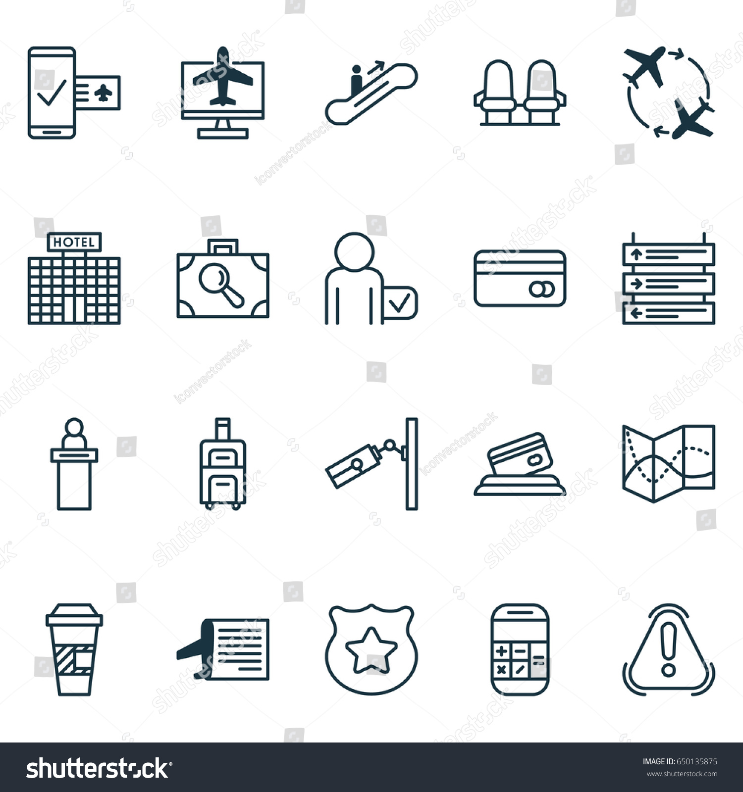 Travel Icons Set Collection Cop Symbol Stock Vector Royalty Free
