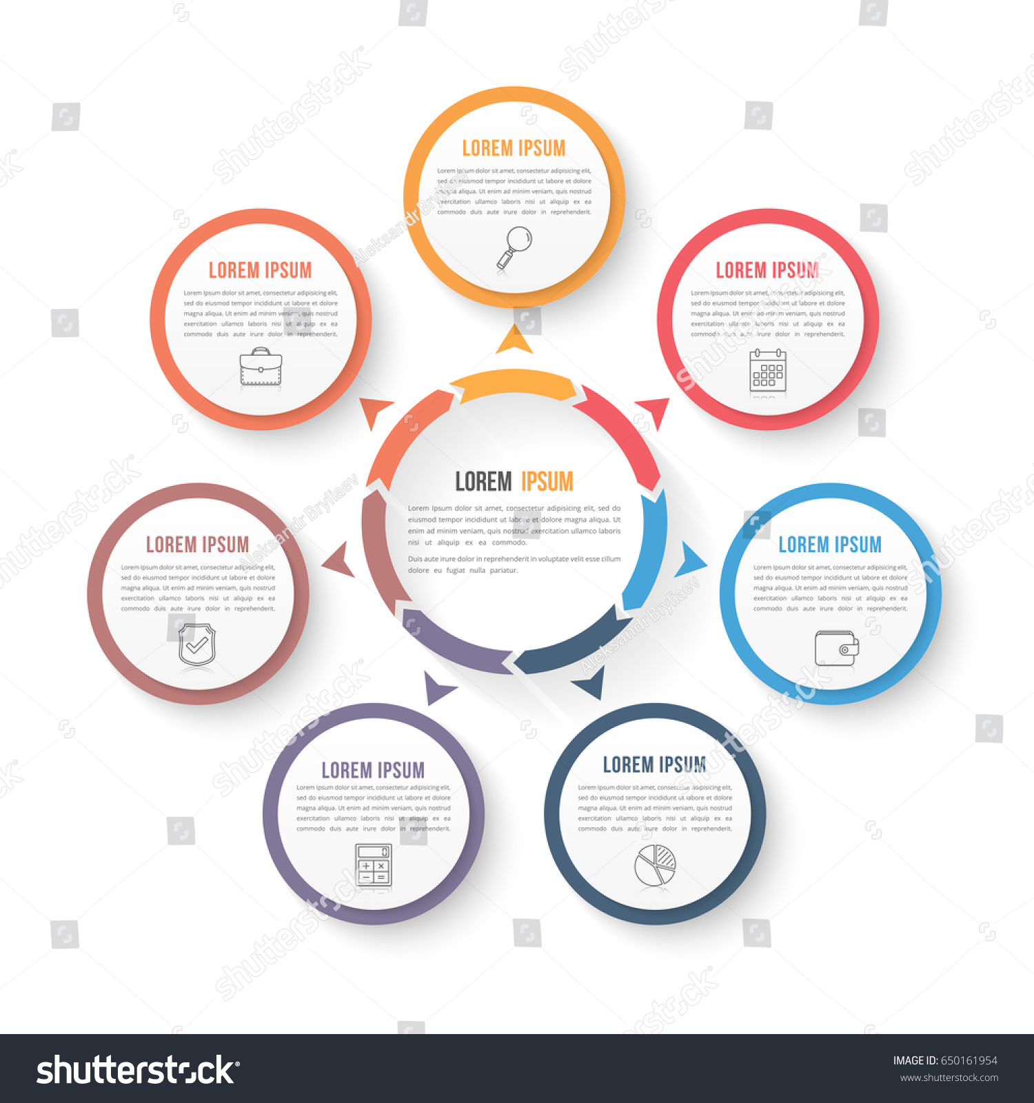 circle infographic template seven elements steps stock vector