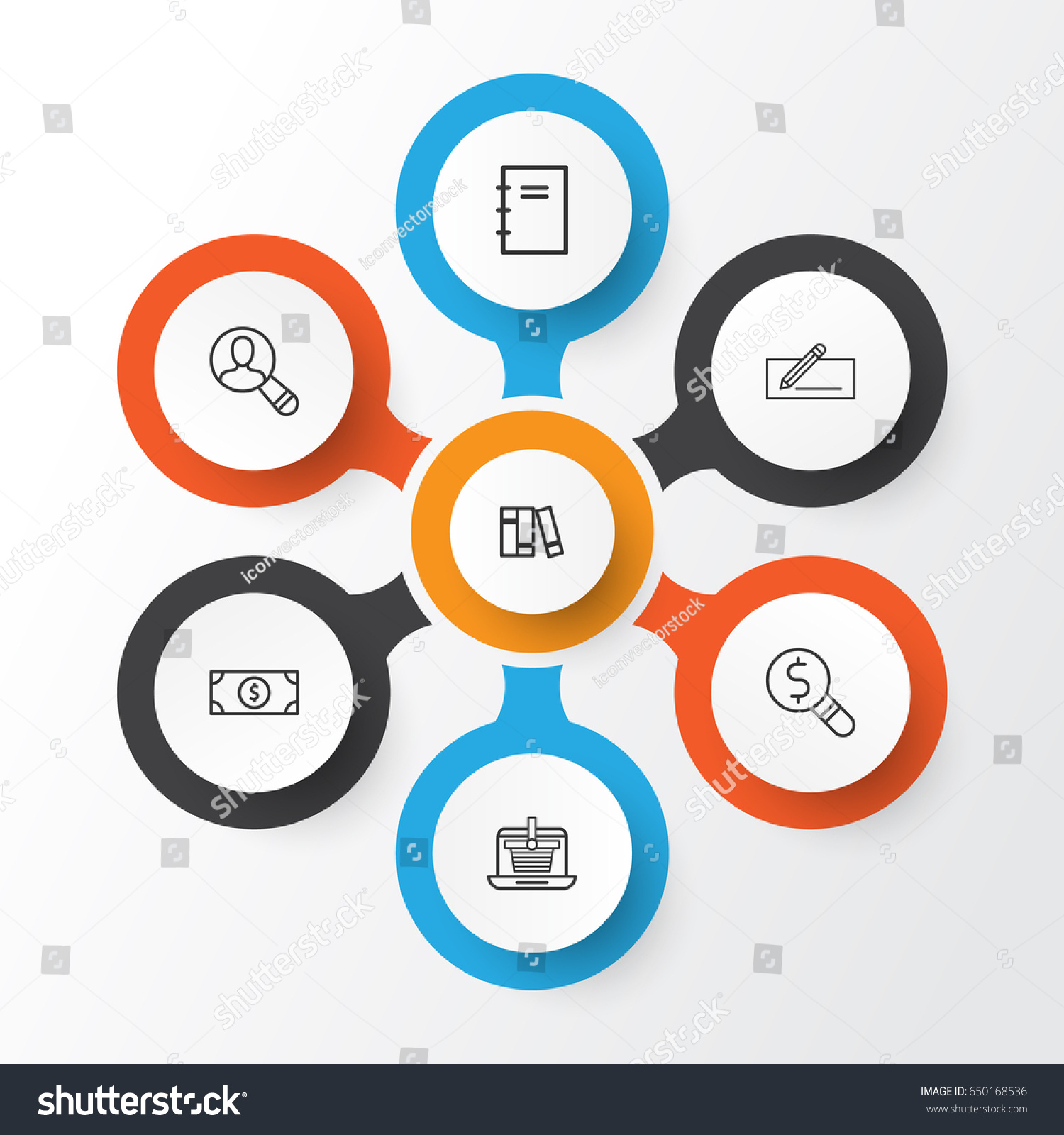 Ecommerce Icons Set Collection E Trade Spectator Stock Vector