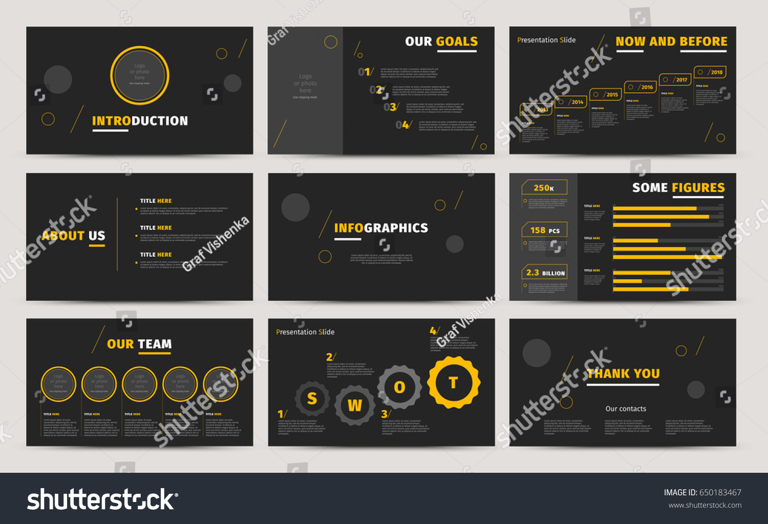 Corporate Presentation Slides Design Creative Business Stock Vector