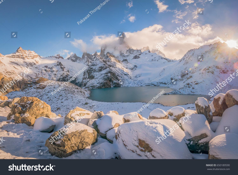 Mount Fitz Roy Symbol Patagonia El Stock Photo Edit Now 650189590