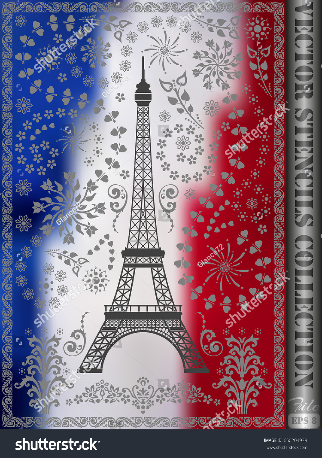 Stencil Eiffel Tower Ornament Made Flowers Stock Vector (Royalty ...