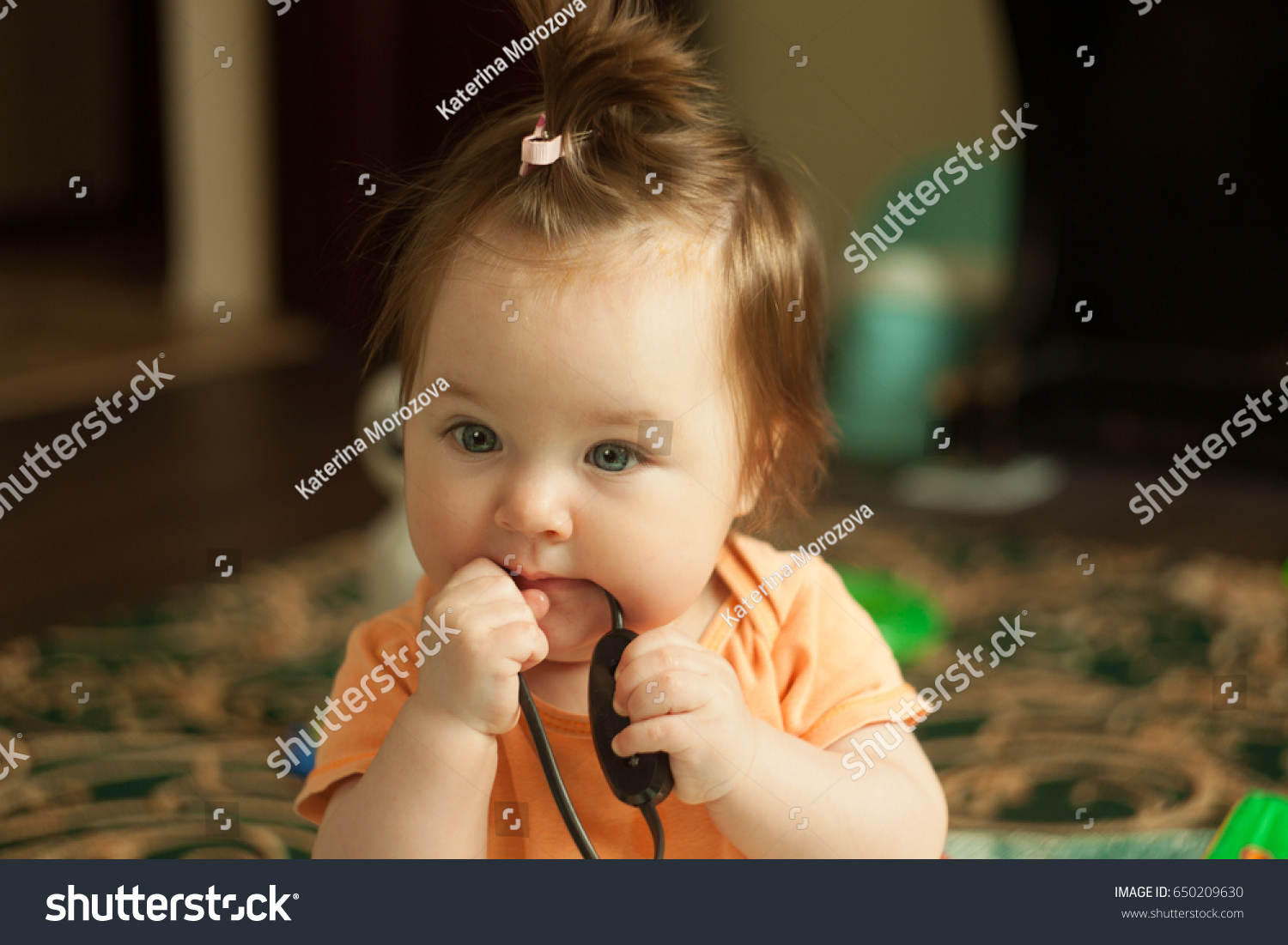 Cute Caucasian Baby Girl Playing Home Stock Photo Edit Now
