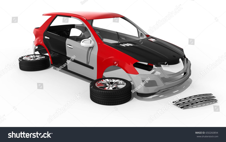 3 D Render Image Representing Car Body Stock Illustration 650260894 ...