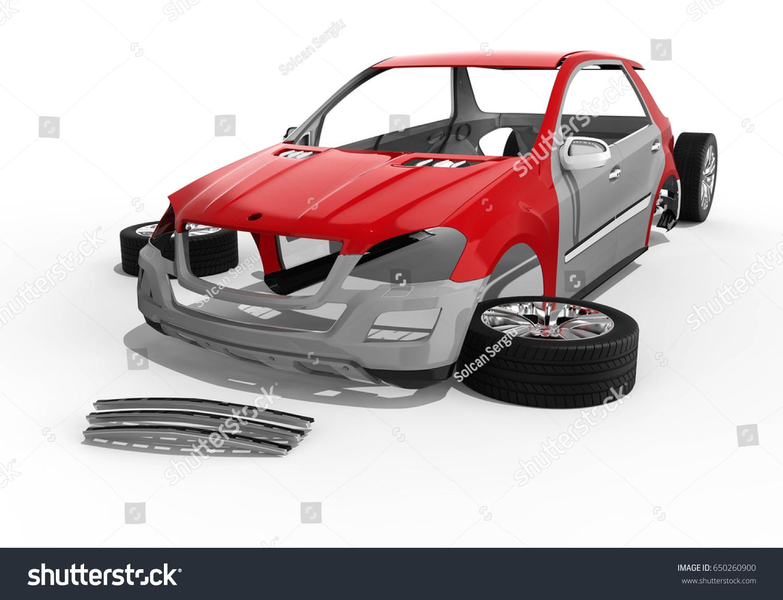 3 D Render Image Representing Car Body Stock Illustration 650260900 ...