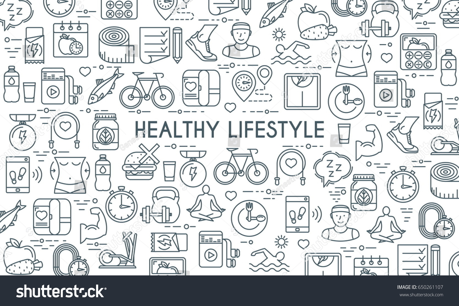 Healthy lifestyle banner. Design template with thin line icons on theme fitness, nutrition and dieting. Vector illustration