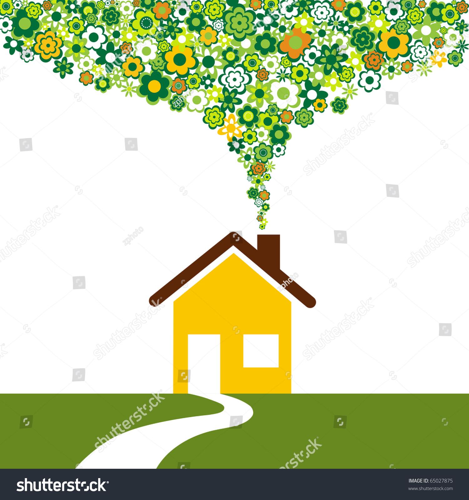 Environmentally Friendly House Flowers Instead Smoke Stock Vector