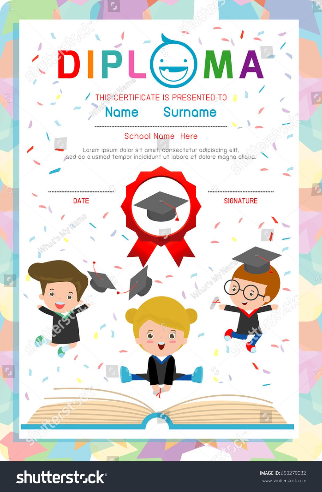 Diploma Template Kids Certificates Kindergarten Elementary Vector de ...