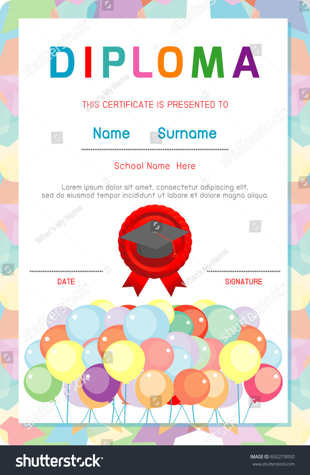 Diploma template kids certificates kindergarten elementary stock diploma template for kids certificates kindergarten and elementary certificate of children diploma vector xflitez Images