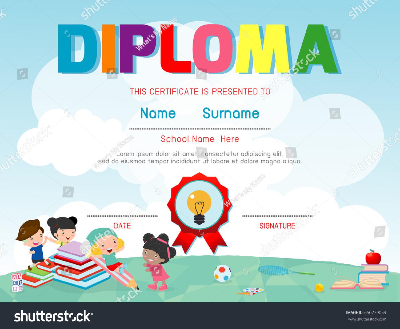 Diploma Template Kids Certificates Kindergarten Elementary Stock