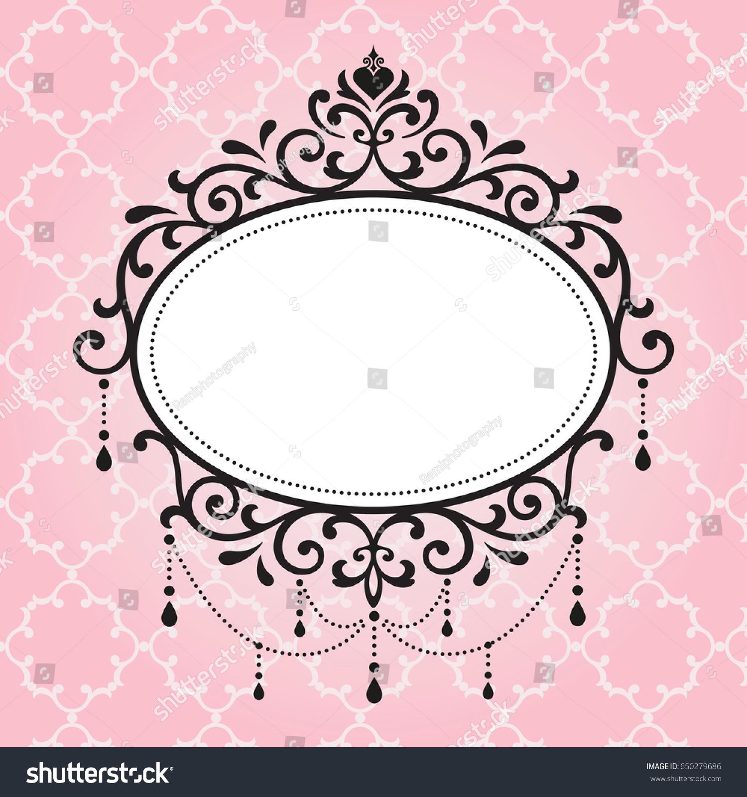 Chandelier Vintage Frames Design On Pink Pattern Background