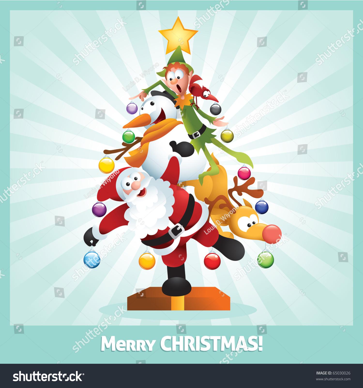 funny cartoon illustration santa claus elf stock vector 65030026