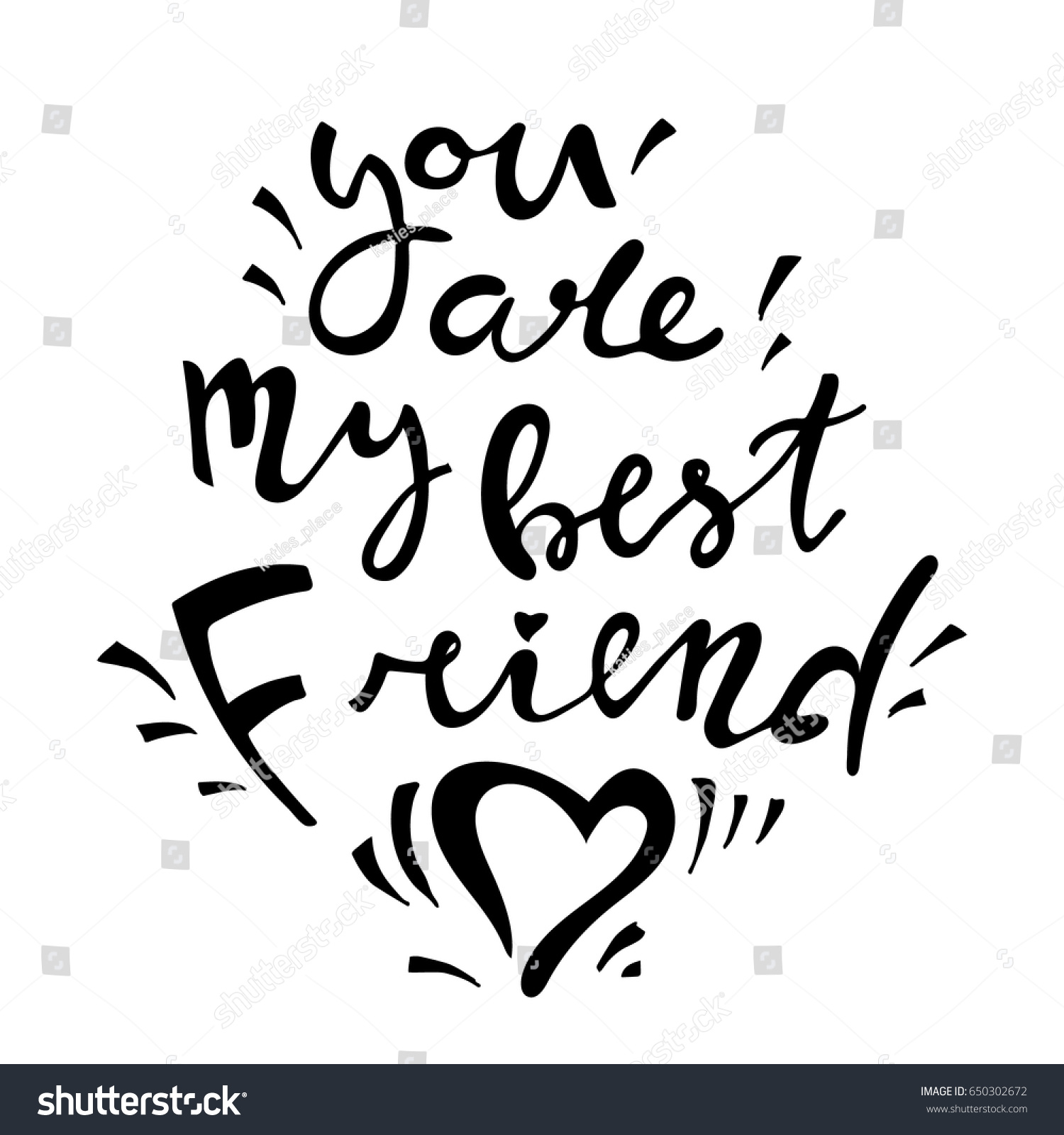 I Love You Bestfriend Quotes You My Best Friend Handdrawn Lettering Stock Vector 650302672