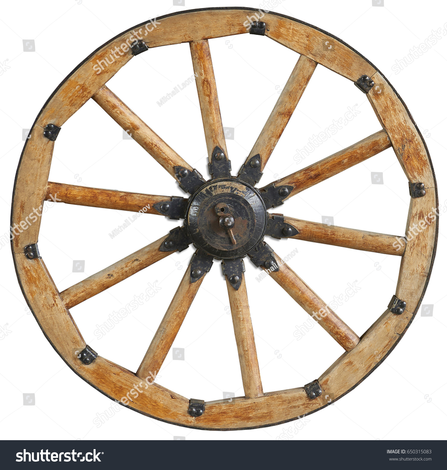 Antique Steel Spoke Wheels : Classic old antique wooden wagon wheel stock photo