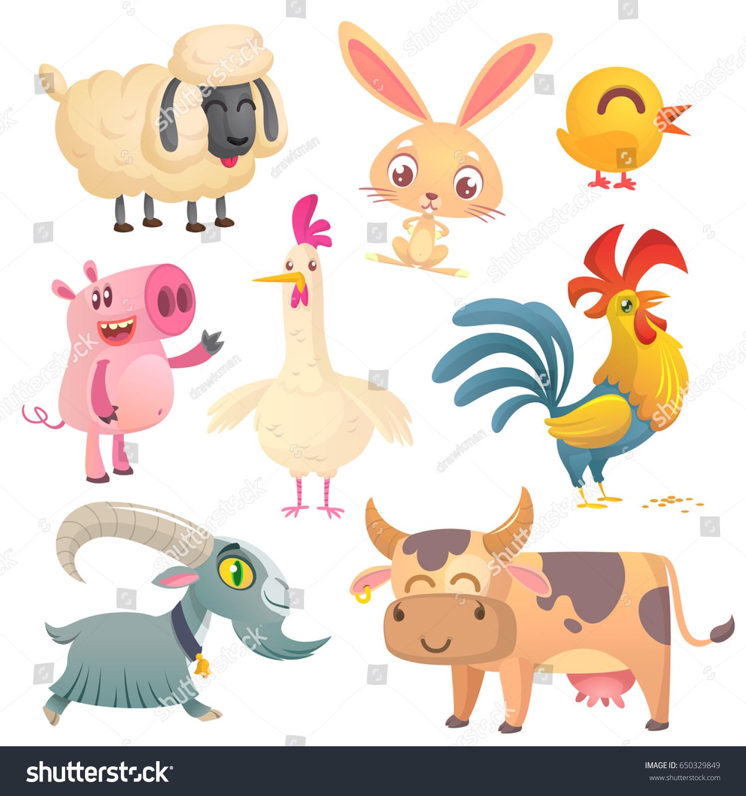 collection cartoon farm animals vector set stock vector 650329849