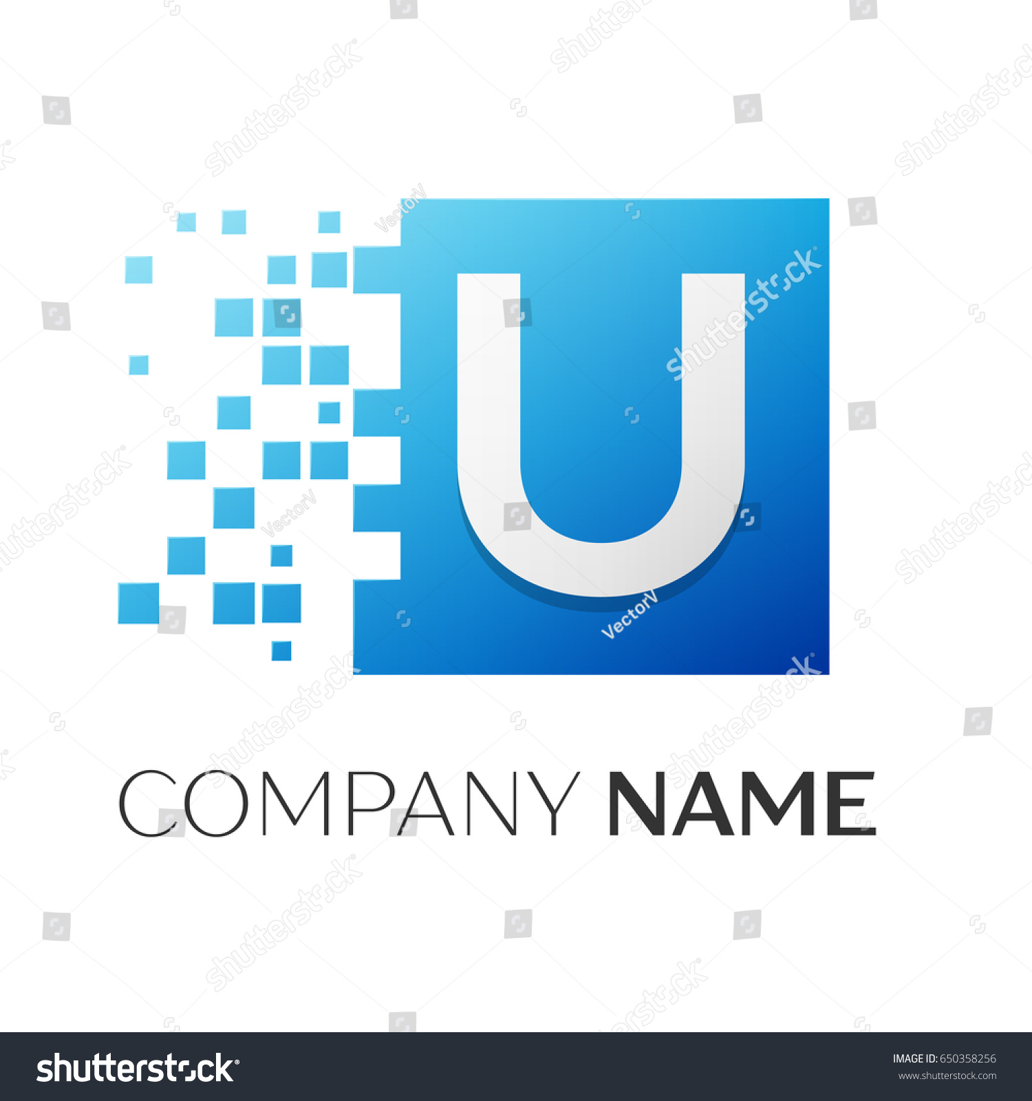 Letter U Logo Symbol Colorful Square Stock Illustration 650358256