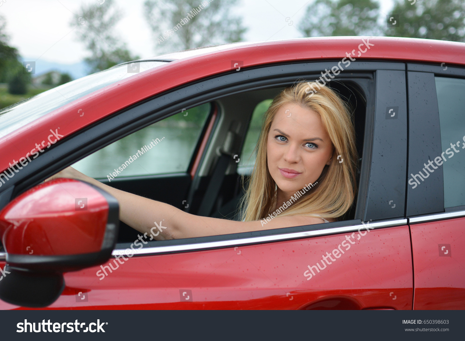 650398603 Photo Beautiful Blonde Young edit Driving Girl Stock Slowly Now