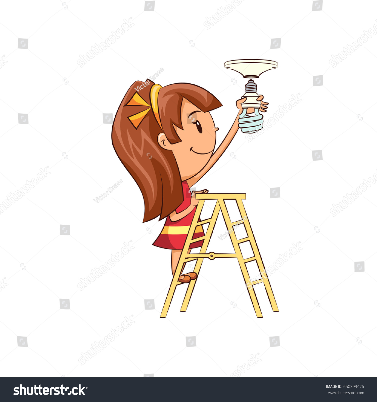 Girl Changing Light Bulb Stock Vector Royalty Free 650399476 Wiring A
