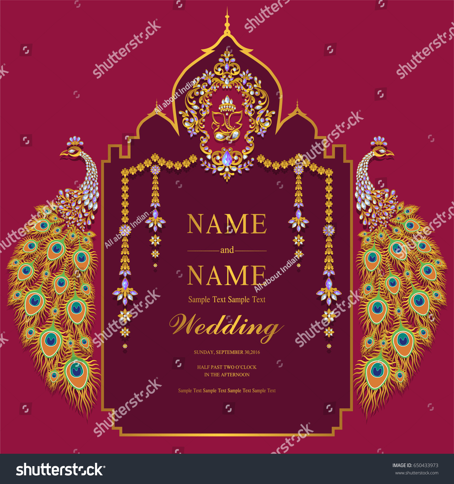 Wedding invitation card templates gold peacock stock vector wedding invitation card templates with gold peacock patterned and crystals on paper color pronofoot35fo Choice Image