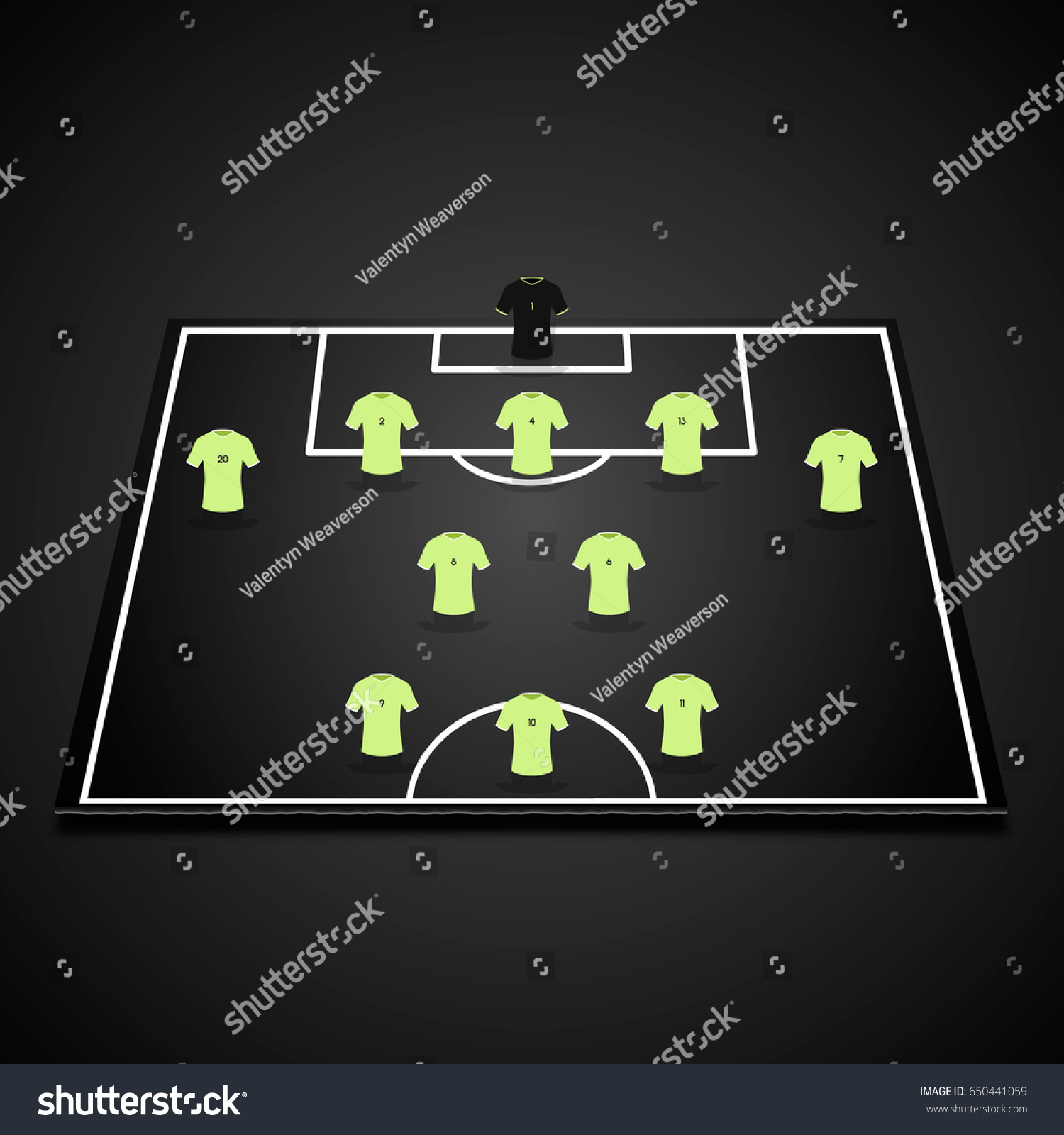Football soccer 3d starting lineup on stock vector 650441059 football soccer 3d starting line up on one half of field 5 pronofoot35fo Gallery