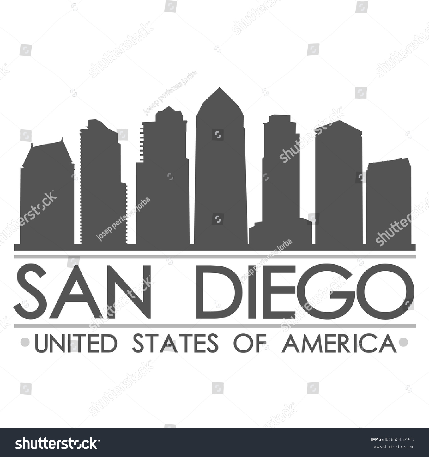 san diego skyline silhouette design city vector art