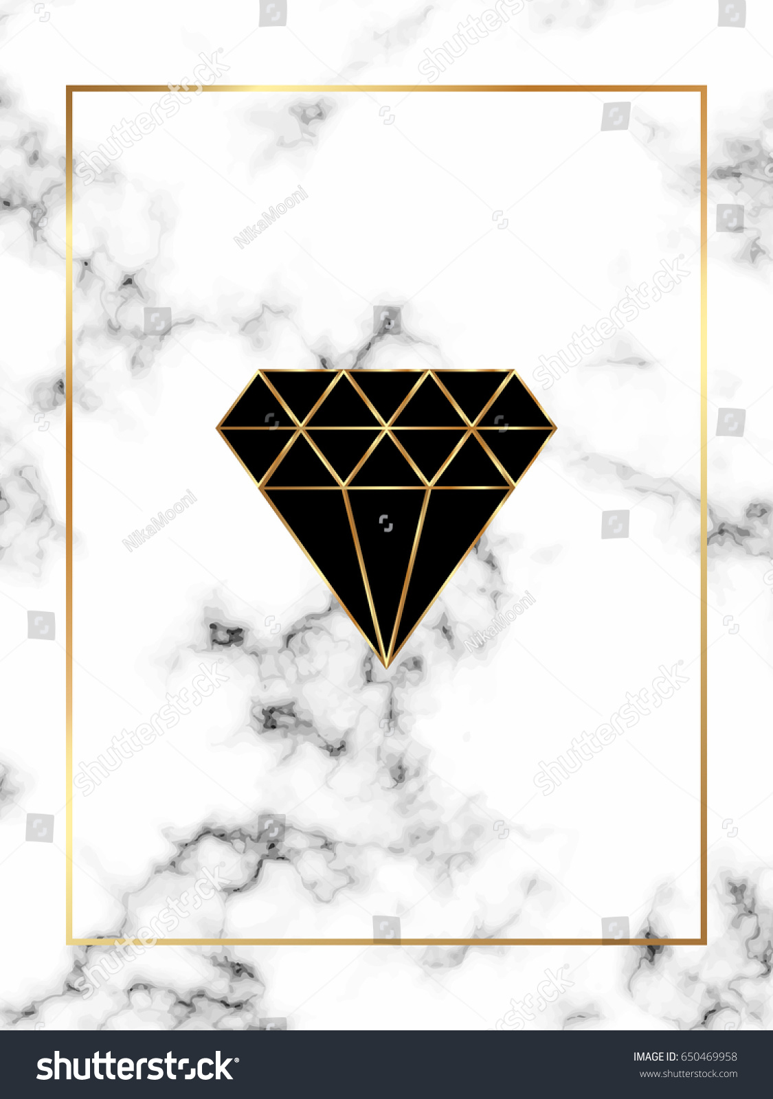 Home Decor Brochure Marble Background Gold Diamond Triangle Rhombus Stock