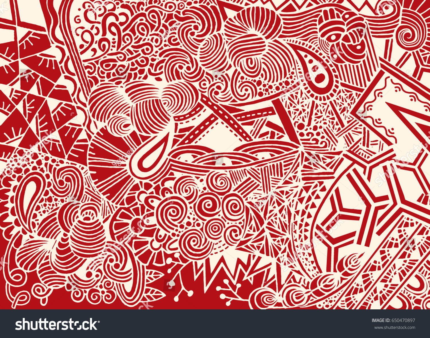 Doodle Background Vector Doodles Flowers Paisley Stock Vector ...