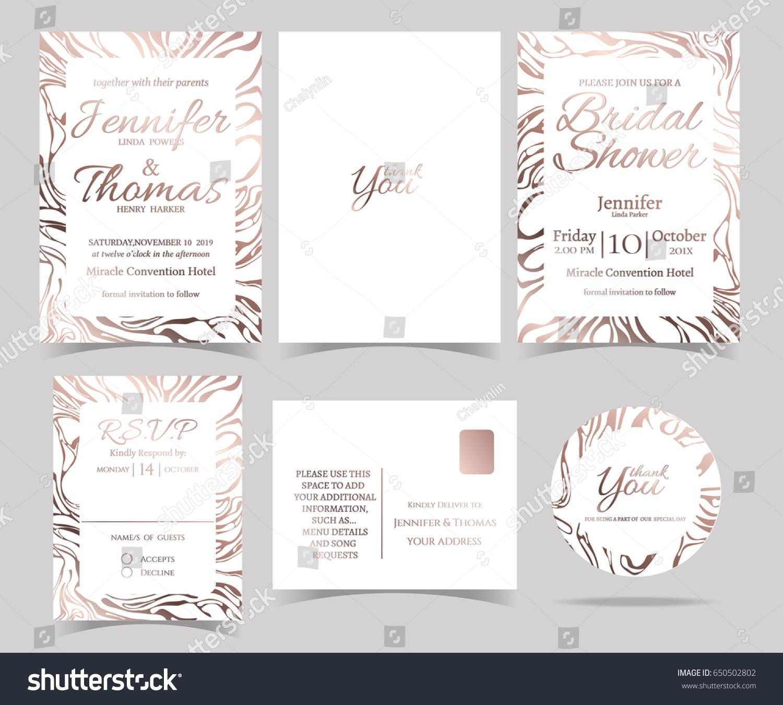 Set Wedding Invitation Card Rsvp Card Stock Vector