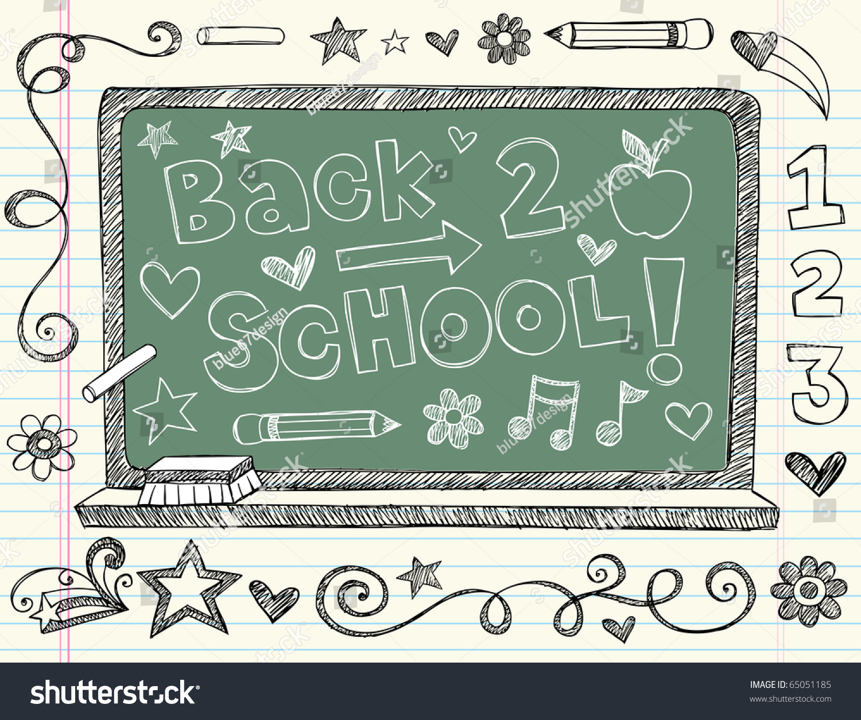 Handdrawn Back School Chalkboard Blackboard Sketchy Stock Vector HD ...