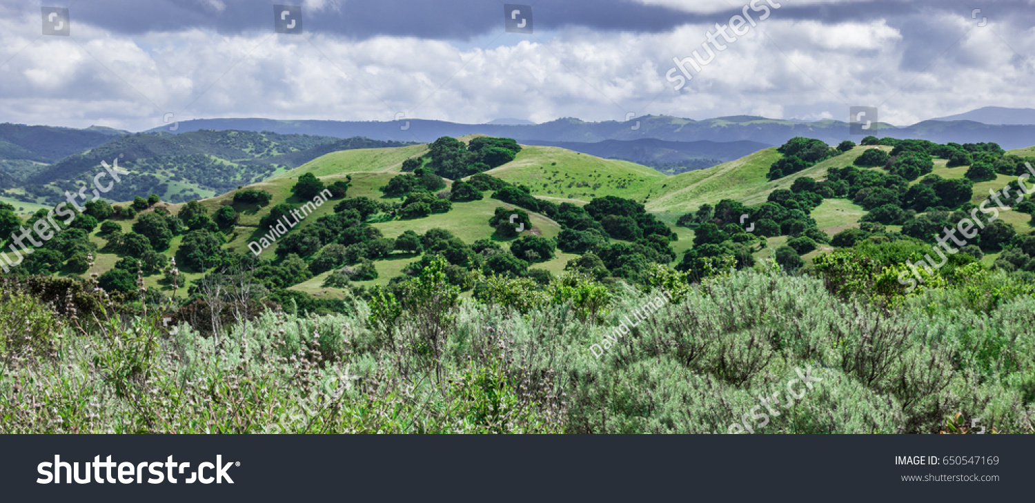 A view from the hiking trails of the Fort Ord National Monument, in Monterey County of central California, with the Santa Lucia Mountain Range in the background.