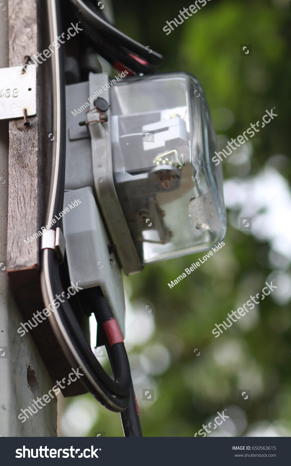 Electrical Meteringthe Metering Install Wood Plate Stock Photo Edit How To Run Wire In A House Was At Pole And Wiring