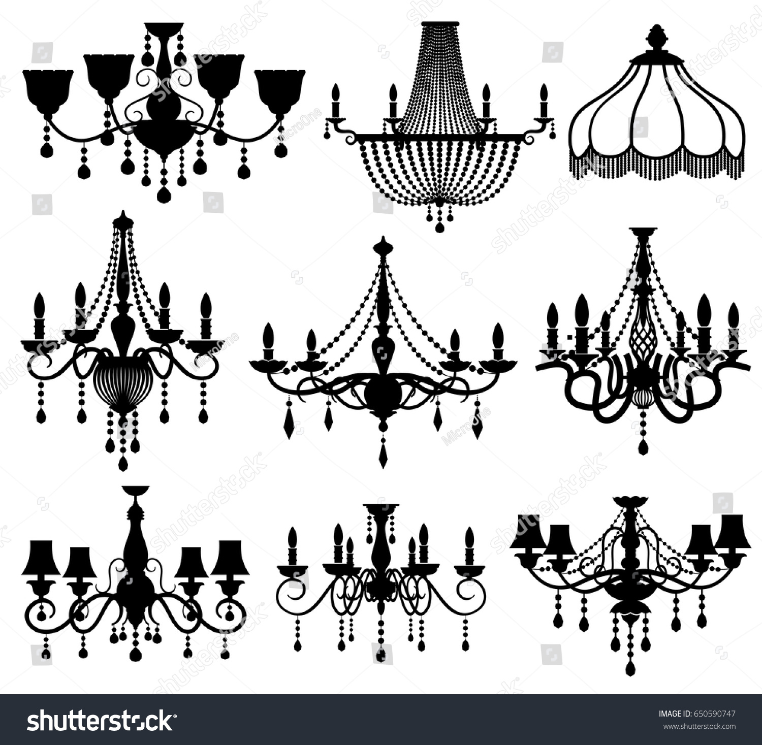Classic crystal glass antique elegant chandeliers stock vector classic crystal glass antique elegant chandeliers black vector silhouettes arubaitofo Image collections