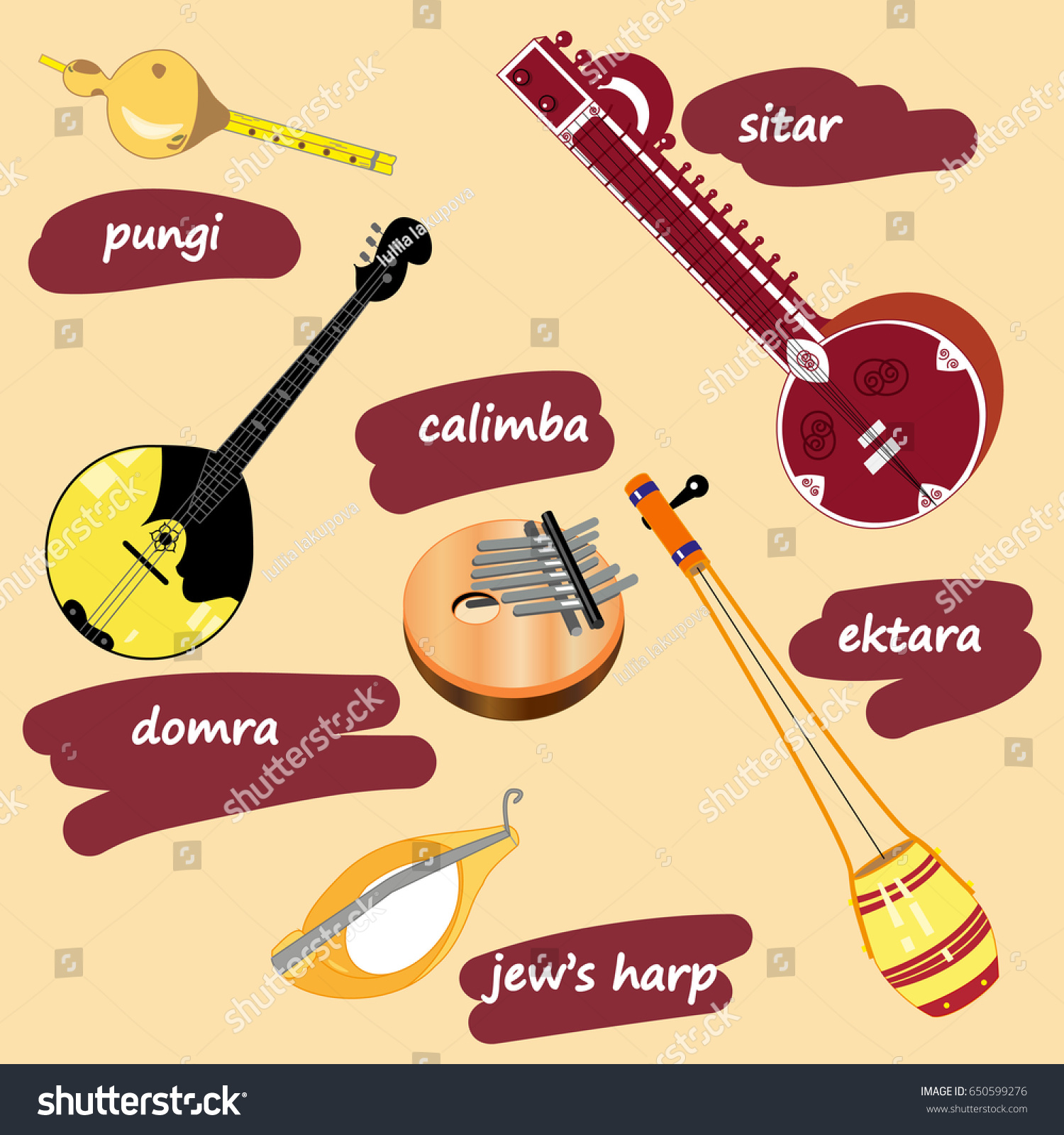 Vector Illustration Collection Ethnic Musical Instruments Stock
