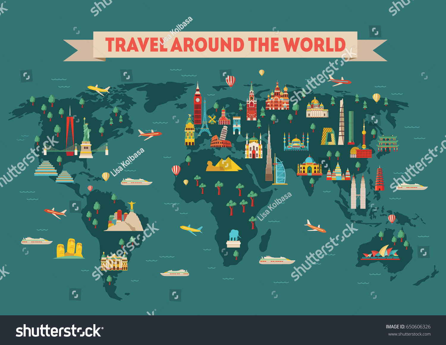 World travel map poster travel tourism stock photo photo vector world travel map poster travel and tourism background vector illustration publicscrutiny Image collections